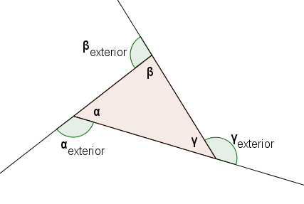 Math vocabulary d for Exterior of an angle definition